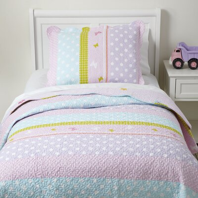 Pretty Polka Quilted Bedding Set Size: Twin