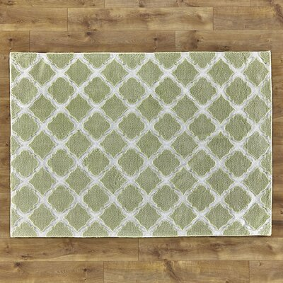 Lattice Play Green Rug Rug Size: 2' x 3'