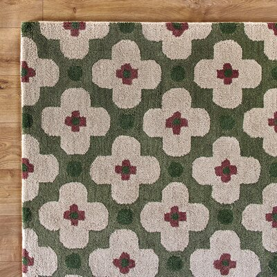 Picking Flowers Green Rug
