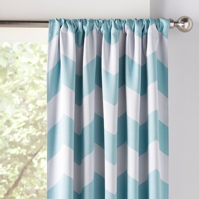 Zigzag Blackout Thermal Curtain Panels Color: Turquoise