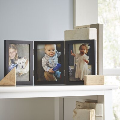 Trio Hinged Wood Picture Frame Color: Black