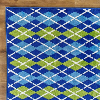 Dueling Diamonds Blue Rug Rug Size: 27 x 311