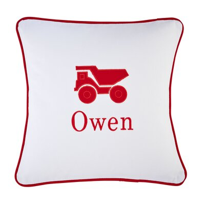 Truck Motif Monogrammed Pillow Cover Color: Red