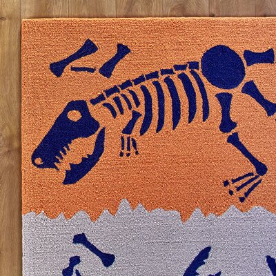 Dig it Orange & Blue Rug Rug Size: 3' x 5'