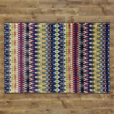 Arabian Hand-Woven Blue Area Rug Rug Size: 5'2