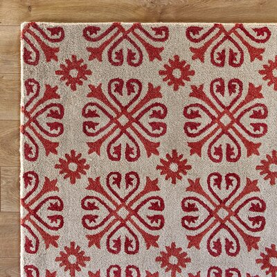 Amelia Natural & Red Rug Rug Size: Rectangle 2 x 3