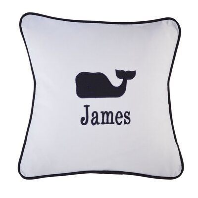 Whale Motif Monogrammed Pillow Cover Color: Navy