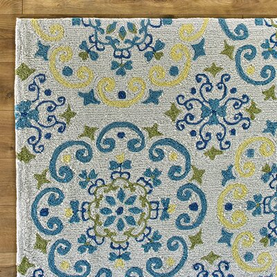 Francesca Moroccan Ivory & Light Blue Area Rug Rug Size: 5 x 76