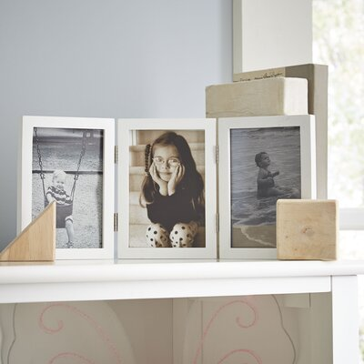 Trio Hinged Wood Picture Frame Color: White, Size: 4