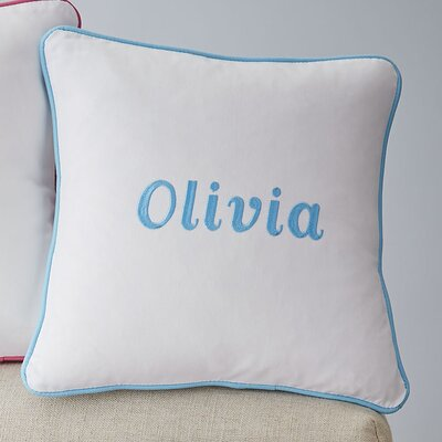Corded Monogrammed Pillow Cover Color: Aqua