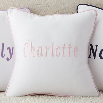 Corded Monogrammed Pillow Cover Color: Light Pink