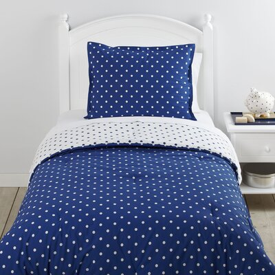On the Dot Navy 2 Piece Reversible Comforter Set Size: Full/Queen