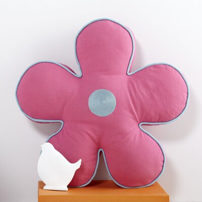 Flower Pillow Color: Hot Pink/Aqua