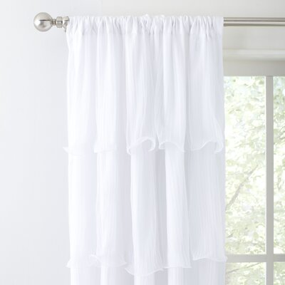 Tiered Ruffles Single Curtain Panel Color: White
