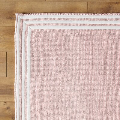 Three Strikes Hand-Woven Pink/White Area Rug Size: 8 x 10