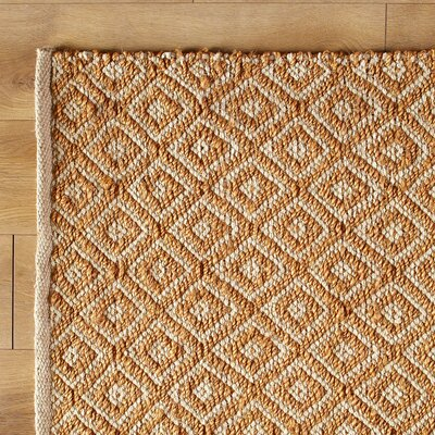Diamonds in the Sky Hand-Woven Gold Yellow Area Rug Size: 33 x 53