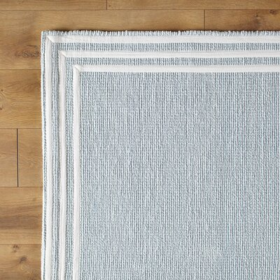 Three Strikes Sky Hand-Woven Blue Area Rug Size: 5 x 8