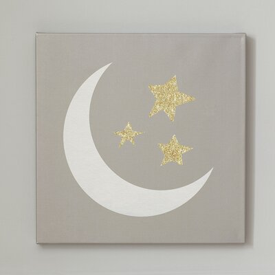Crescent Moon Sky Graphic Art on Canvas