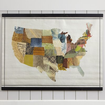 Oversized Rolled Antique Canvas USA Map with Wood Trim
