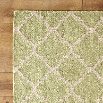 Green/Ivory Checked Area Rug Rug Size: Square 6