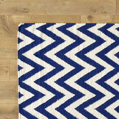 Moves Like Zigzagger Blue Rug Rug Size: Runner 26 x 14