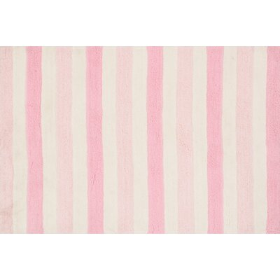 Stripe Out Pink/White Rug Rug Size: 73 x 93