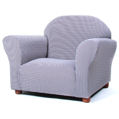 Roundy Gingham Kid's Club Chair Color: Brown