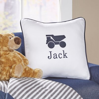 Truck Motif Monogrammed Pillow Cover Color: Navy