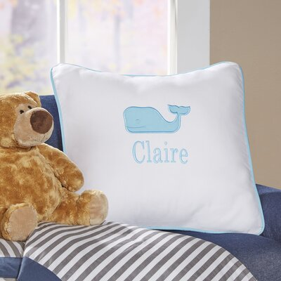 Whale Motif Monogrammed Pillow Cover Color: Aqua