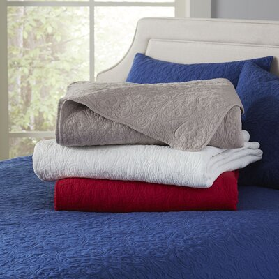 Curlicue Navy Quilt Set Size: Full / Queen, Color: Navy