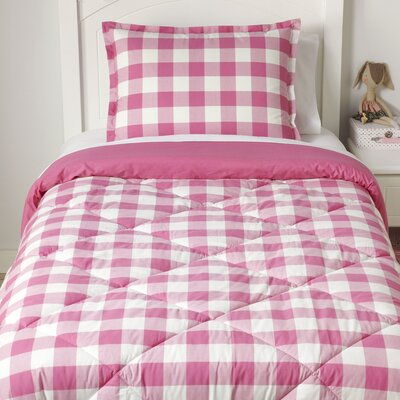 Ch-Check it Out Reversible Pink Comforter Set Size: Full