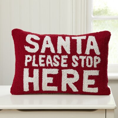Santa, Stop Here Hooked Pillow
