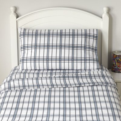 Plaid, Plaid World Flannel Sheet Set Size: Full, Color: Blue Plaid