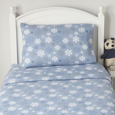 Snowflake Flannel Sheet Set Size: King, Color: Blue