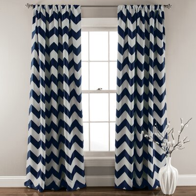 Chevron Curtain Panels Color: Navy