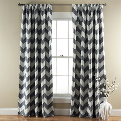 Chevron Curtain Panels Color: Gray