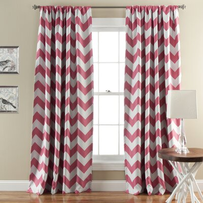 Chevron Curtain Panels Color: Pink