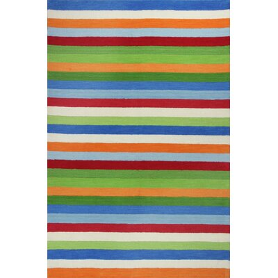 Rainbow Hand-Woven Wool Green/Blue/Orange Area Rug Rug Size: Rectangle 5 x 76