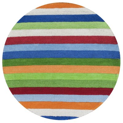 Rainbow Stripes Multi Rug Rug Size: Round 3