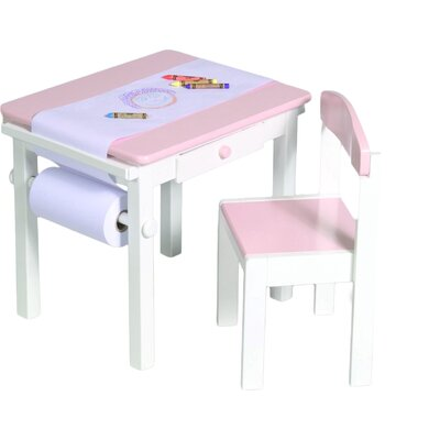 Budding Artist Kids 3 Piece Rectangle Table and Chair Set Color: Pink