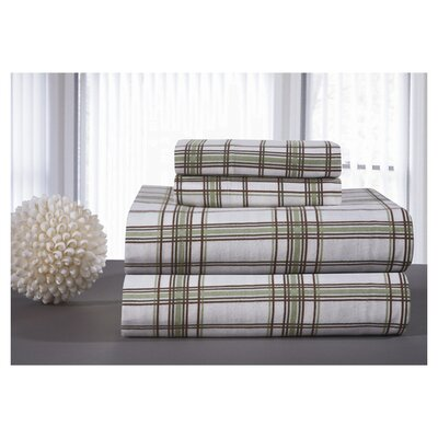 Plaid, Plaid World Flannel Sheet Set Size: King, Color: Sage Plaid