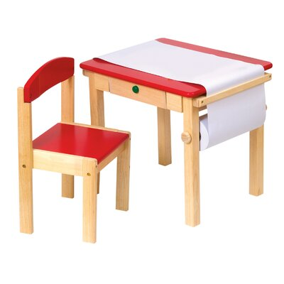 Budding Artist Kids 3 Piece Rectangle Table and Chair Set Color: Red