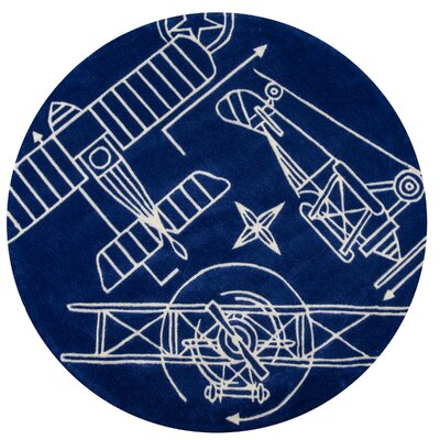 Flight Plan Hand-Tufted Navy Kids Rug Rug Size: Round 5'