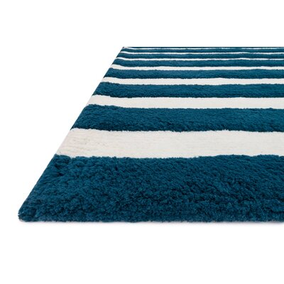 Stripe Out Hand-Woven Navy/white Area Rug Rug Size: Rectangle 5 x 7