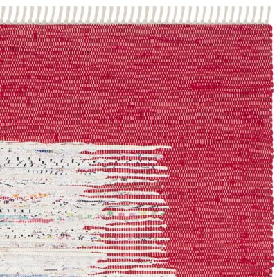 Static Hand-Woven Cotton Red Area Rug Rug Size: Rectangle 26 x 4