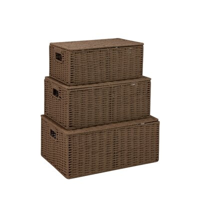 Undercover 3 Piece Lidded Basket Set Color: Brown