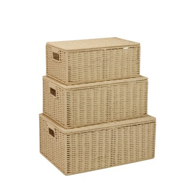 Undercover 3 Piece Lidded Basket Set Color: Natural