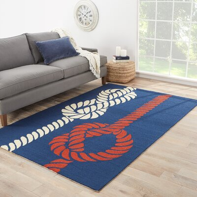 Knot Your Average Hand-Woven Nautical Blue  Indoor/Outdoor Area Rug Rug Size: Rectangle 76 x 96