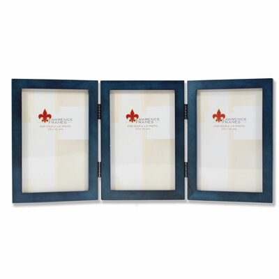 Trio Hinged Wood Picture Frame Color: Blue, Size: 4