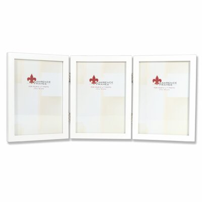 Trio Hinged Wood Picture Frame Color: Satin White, Size: 5
